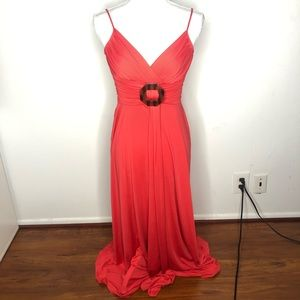 Donna Morgan Gown Red Maxi Dress V Neck Size 2